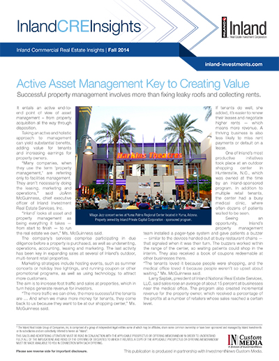 Active Asset Management Key to Creating Value
