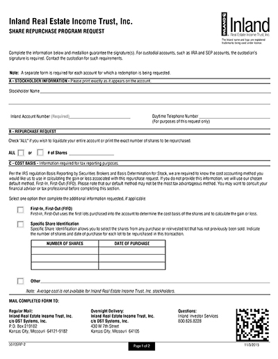 Share Repurchase Program Request Form