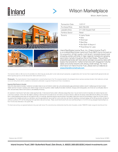 Wilson Marketplace Property Sheet