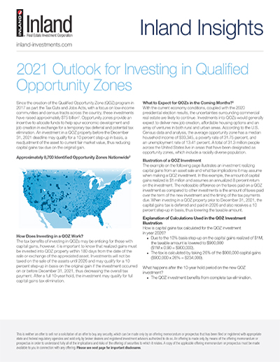2021 Outlook for Investing in Qualified Opportunity Zones