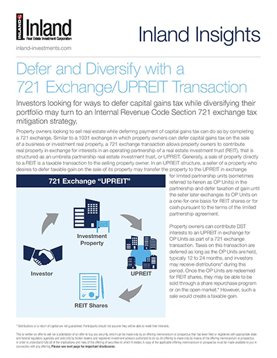 Defer and Diversify with a 721 Exchange/UPREIT Transaction