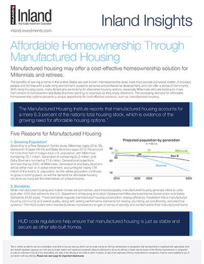 Affordable Homeownership Through Manufactured Housing