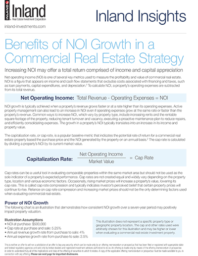 Benefits of NOI Growth in a Commercial Real Estate Strategy