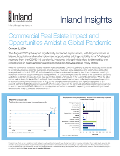 Commercial Real Estate Impact and Opportunities Amidst a Global Pandemic