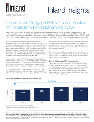 Inland Insights - Commercial Mortgage REITS Are in a Position to Benefit from Loan Refinancing Wave