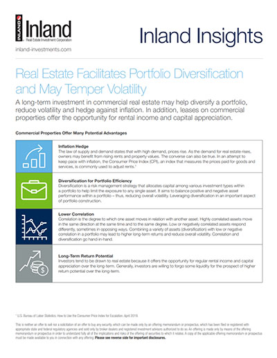 Real Estate Facilitates Portfolio Diversification and May Temper Volatility