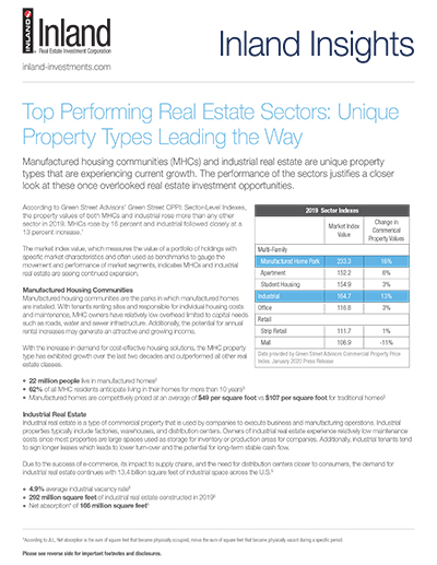 Top Performing Real Estate Sectors: Unique Property Types Leading the Way