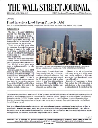 Fund Investors Load Up on Property Debt